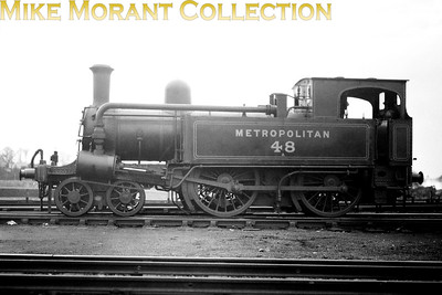 Metropolitan Railway 4-4-0T no. 48 at Neasden on 11/5/1929. Built by Beyer Peacock in 1870, no. 48 would remain in service into the LT era and was sold, buyer not known, in 1936. [Mike Morant collection]