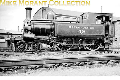 Metropolitan Railway 'A' class 4-4-0T no. 49 at Neasden on 11/7/1931. Built by Beyer Peacock in 1870, no. 49 would remain in service into the LT era and was withdrawn in 1936. [Mike Morant collection]