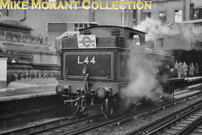 London Transport: Uxbridge Line 50th Anniversary Party 4/7/54 London Transport 'E' class 0-4-4T no. L44 at Baker Street station. [Mike Morant collection]