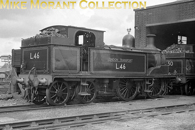 London Transport's small steam fleet fascinates many of us. This is Metropolitan Railway 'E' class 0-4-4T No. L46 at LT's Neasden mpd on 8/8/57.