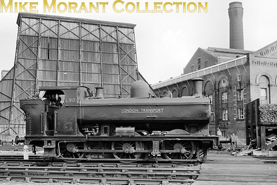 London Transport ex-GWR 5700 class pannier tank L90 at Neasden's LT steam shed. L90 was GWR no. 7760 built by NBL in 1930. LT service began following withdrawal from BR service at 81F Oxford in November 1961 and withdrawal from LT service stock came in June 1971, the end of LT steam, followed by a move into the heritage sector where it remains to this day.