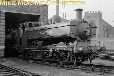 Former GWR Collett designed 5700 class 0-6-0PT no. 5757 is depicted here at London Transport's Neasden mpd during its extended lease of life as LT no. L91. Built in 1929 at Swindon works, 5757 was bought by LT in November 1960 and was originally numbered L96 but was renumbered when 7741 arrived in 1961 and took that number. Withdrawal came in December 1969 and L91 was scrapped on site in September 1970.