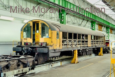 LT battery-electric locomotive no. 51 undergoing overhaul inside Acton Works. No. 51 is one of the Doncaster batch built in 1964/5 and is still part of the active fleet. [Mike Morant collection]