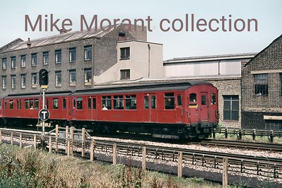 London Transport Ditrict line 'Q' stock unit no. 4263 on East London Line duty at Surrey Docks on 12/7/70. [Mike Morant collection]