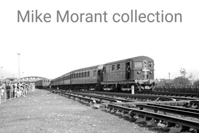 London Transport: Metropolitan Centenary Rail Tour 26/5/63 LT Bo-Bo electric no. 5 John Hampden and its rake of Dreadnought stock passing Neasden on the outward journey to Amersham. [Mike Morant collection]