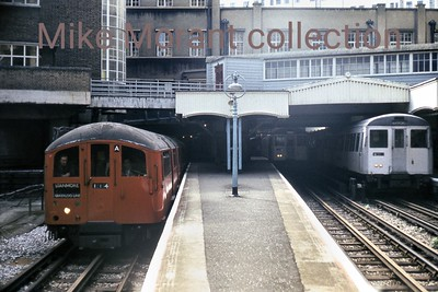 i don't know all the background to this but when the shot was taken, 12/6/77, the Bakerloo line of London's Underground system was undergoing refurbishment somewhere south of Finchley Road station and so the Bakerloo trains were routed via the Metropolitan line to Baker Street station.i suspect that it's quite an unusual shot. [Mike Morant collection]