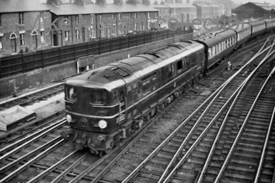 Bulleid 1-Co-Co-1 diesel electric no. 10202 departs from Stafford whilst in charge of the 12.07 Euston to Crewe service on 21/8/55. [Mike Morant collection]