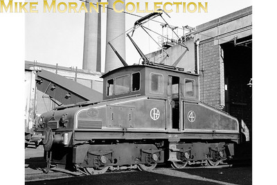 The CEGB's generating station at Kearsley in Lancashire had as its motive power four steeple cab Bo-Bo electric locomotives running under a 550v DC overhead wire power supply. Depicted here on 28/6/69 is 'BEL 4' the last built of those locos which was constructed by Robert Stephenson and Hawthorn in 1945 with works no. 7284 to a design dating back to 1928 and all with traction equipment supplied by BTH. A viewer has kindly pointed out that Kearsley no. 4 was used until 1982 when the CEGB rebuilt it as a battery loco and moved it to Heysham Nuclear Power Station where it was named Heysham No.1. British Energy withdrew it in 2009 and it now forms part of the collection at the Electric Railway Museum in Coventry. [Mike Morant collection]