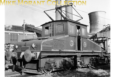 The CEGB's generating station at Kearsley in Lancashire had as its motive power four steeple cab Bo-Bo electric locomotives running under a 550v DC overhead wire power supply. Depicted here on 28/6/69 is the the third built of those locos which was constructed by Robert Stephenson and Hawthorn in 1944 to a design dating back to 1928 and all with traction equipment supplied by BTH. This example, no. 3, is preserved at the Tanfield Railway. [Mike Morant collection]