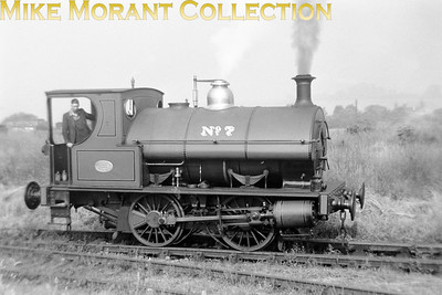 """Bass, Ratcliff & Gretton brewery 0-4-0ST No. 7 taken on 25/6/49 at, of course, at Burton-on-Trent. My thanks to Tom Burnham for the following: """"According to the IRS book """"Industrial Railways of South Staffordshire"""", Bass No 7 was built by Thornewill & Warham of Burton-on-Trent in 1875, rebuilt by Hunslet in 1899 and again in 1915, and sold for scrap in March 1963."""""""