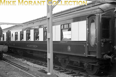 Pullman car no. 132 at Ramsgate station on 8/6/59. Further notes kindly supplied by Terry Bye:  A Southern Car November 1921 S/No.132 ANACONDA – Kitchen First Class – Clayton Wagons of Lincoln. New body on an ex-LNWR Ambulance Train Underframe (1914-1918). 1934 – Rebuilt by Preston Park to Composite car 12 First Class & 14 Third Class. 1948 May – Became THIRD CLASS CAR No.132. 1948 May 31st – Inaugural 'Thanet Belle' with Pullman cars FORMOSA, CORAL, 16, 137, 132, 96, 11, 135 & 15. Withdrawn 1959 – became Camping Coach BR LM No.022260 Located at Betws-Y-Coed March 14th 1960 to July 1964. Then broken-up.