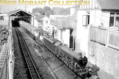 RHDR, Romney Hythe & Dymchurch Railway, pacific no. 2 Northern Chief departs from New Romney. This an is undated view but the mode of dress suggests the early fifties [Mike Morant collection]