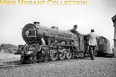 RHDR, Romney Hythe & Dymchurch Railway, pacific no. 7 Typhoon at Dungeness. This is an undated view but the mode of dress suggests the early fifties [Mike Morant collection]