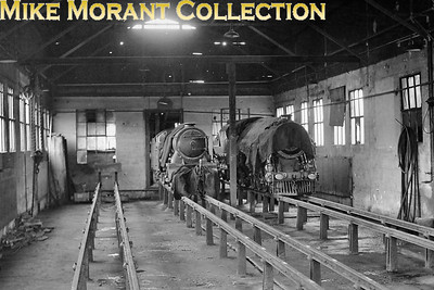 RHDR, Romney Hythe & Dymchurch Railway, pacific Nos. 2 Northern Chief on the left and No. 9 Winston Churchill photographed in the shed at New Romney on 30/7/50.