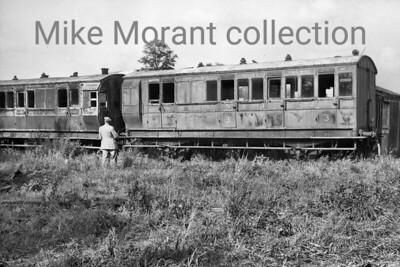 A Colonel Stephens light railway shot taken at Rolvenden in 1946. KESR coach no. 1 is a LSWR 28ft 4 wheel brake third of 1879-81.  The vehicle to its left is similar. [Mke Morant collection]