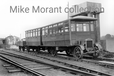 Kent and East Sussex Railway railbus no. 3, passenger trailer and baggage wagon at Rolvenden station. This railbus was purchased from Shefflex Lorries Ltd (at Tinsley in Sheffield) and was delivered in 1930. It's last known use was on 8/3/38 and it was scrapped in 1941. [Mike Morant collection]