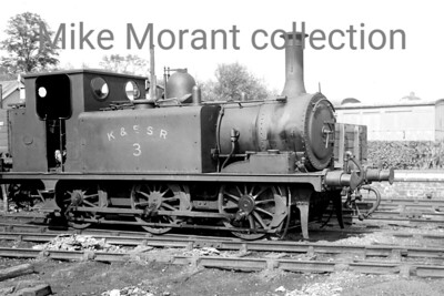 A Colonel Stephens light railway shot taken at Rolvenden in 1946. The loco is Kent & East Sussex Railway former LBSCR Stroudley 'Terrier' 0-6-0T no. 3 which originated with the LBSCR as no. 70 being sold to the Rother Valley Railway in 1901. The RVR became the KESR in 1904 and no. 3 remained there until the line's closure in 1954 but was renumbered by BR in September 1949 to become 32670. This celebrity loco was withdrawn by BR in 1963 and is still with us today as a member of, appropriately, the heritage successor to the KESR. [Mke Morant collection]