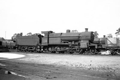S&DJR Fowler designed 7F class 4-6-0 no. 53805 is depicted here at templecombe shed on 26/6/54.