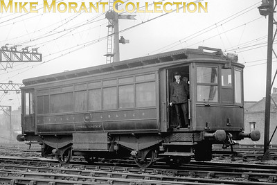 This is the LBSCR's overhead electric depot at Peckham Rye photographed in 1927 but the depicted vehicle, far from being electrically powered, is driven by petrol fed internal combustion engines. This is maintenance vehicle no. 1 Daimler powered with Dick Kerr bodywork and was purpose built. Note that, even this far into Southern ownership, it is still adorned with pre-grouping livery.