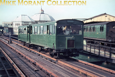 Isle of Wight railways Drewry diesel railcars operating the Ryde Pier tramway which would close in 1969. This slide is one of a large batch bought via eBay and the quality, as is immediately apparent, is suspect. Only 12 of those slides are anywhere near usable so buyer beware