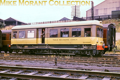 The Elliott Track Recording Coach -  DB 999507 -  was built in 1958 by D. Wickham of Ware and is depicted here in its original brown add yellow livery with silver roof at Wellingborough although there's no photo date with it I'm afraid. The Yellow Peril as it was popularly called was withdrawn in 1997 and is still with us today. At the time this is written it resides at the Lavender Line in Sussex. [Mike Morant collection]