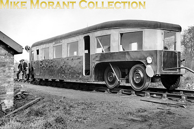 "This is the short-lived French experiment using rubber tyres under a custom built, diesel engined bus body for use on branch lines. Called the Micheline, following trials in France it was brought to England in 1932 where it was tested by the LMSR for a month on Bletchley to Oxford services, Alton to Ascot on the Southern and Crewe to Wellington on the GWR but was found to be wanting and that seems to have been the end of the experiment, certainly in the UK. This negative is labelled ""Coventry April 1932"". [Mike Morant collection]"