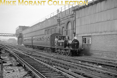 RCTS: Brighton Works Centenary Special 5/10/52 Stroudley Terrier 0-6-0T No. 32636 arrives at Brighton from Kemp Town.