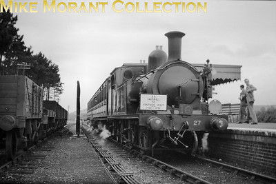 Isle of Wight steam British Railways: Farewell to ventnor West 1900 - 1952 13/9/52 Adams O2 class 0-4-4T no. W27 Merstone at ??????????. [Mike Morant collection]