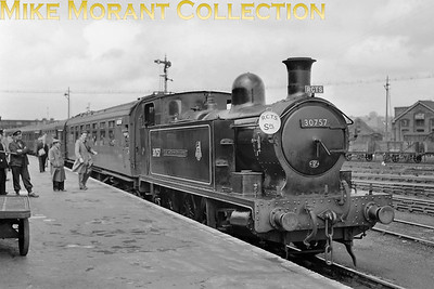 RCTS: Southampton Docks & Fawley Branch Rail Tour 17/5/53 Former PDSWJR 0-6-2T no. 30757 Earl of Mount Edgcumbe awaits departure from Eastleigh station. Although still allocated to its long term home of Plymouth Frairy, 30757 would actually be reallocated to Eastleigh from March 1956 until withdrawal in December 1957. [Mike Morant collection]
