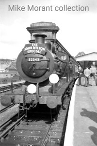 The Ramblers Association: The John Milton Special 3/6/56. Former LBSCR Billinton designed, double-domed C2X class 0-6-0 no. 32543 awaits departure from Crystal Palace which was the tour's start and end point. 32543's involvement would be over fairly quickly as its leg of the tour went only as far as New Cross Gate where LT Metro Vick electric locos would take over for the journey to Rickmansworth. [Photo taken by Mike Morant]