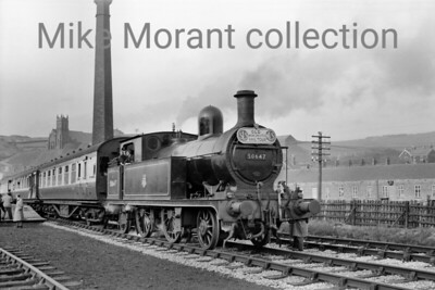SLS/MLS Old Manchester Railtour 12/5/56 Aspinall 2P/3F - LYR class 1008 - 2-4-2T No. 50647 was used on two legs of this tour The first use was in tandem with 52438 which handled most of the day's work but 50647 had the distinction of bringing the day's proceeding's to a close on the last leg from Facit to Manchester's Oldham Road station. Here we see the train during its only intermediate stopping point of Miles Platting where it had two layovers.