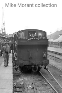 RCTS: Wessex Wyvern 8/7/56 The mainline stock hauled by Collett outside cylinder 1366 class 0-6-0PT no. 1368 after arrival at Weymouth Quay station but what happened next is open to question. The sixbellsjunction railtours web site opines that classmate no. 1370 was used for the return journey to Weymouth Junction and that could well  be true because the loop at the Quay station was blocked by at least one wagon which is evident in another picture in this series. [Mike Morant collection]