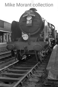 RCTS: Wessex Wyvern 8/7/56 Southern N15X class 4-6-0 no. 32329 Stephenson was a Maunsell rebuild of from one of the handsome Billinton 'L' class 4-6-4T's of the LBSCR. This was the final main line outing for this locomotive when it hauled the final leg of this quite extensive tour from Andover Junction, where this shot was taken, to Waterloo. I had ridden behind this very loco only a fortnight previously from London Bridge to Brighton. [Mike Morant collection]