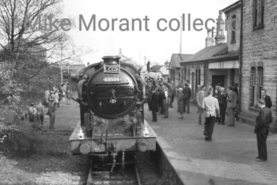 LCGB: Poplar and Edgware tour 5/5/56 Gresley N2 0-6-2T no. 69506 at the former GNR Edgware station which had been closed for passenger traffic as far back as 1939 and would close completely in June 1964. 69506 was used for only the tour section Canonbury - Alexandra Palace - Edgware - Canonbury. 69506 was a Top Shed allocated engine when this shot was taken and was withdrawn from service at New England mpd in May 1961. [Mike Morant collection]