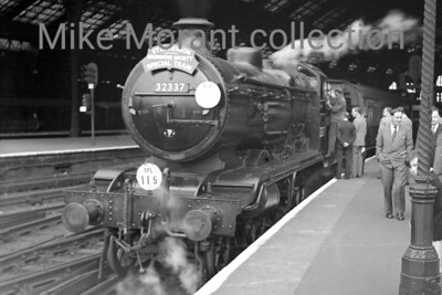 SLS: The Stephenson Special 23/6/56 There's personal interest here as this was the first railtour I ever travelled on. The motrive power on the first leg saw the penultimate passenger train turn for N15X 32329 Stephenson from London Bridge non-stop to Brighon. There was an extra option to ride on the Kemp Town in LBSCR stock hauled by the Birghton works shunter DS377 and of course the works and shed were open house. The final leg of the jolly was hauled by Billinton 'K' class 2-6-0 No. 32337 seen here awaiting departure for London Bridge but this time via Horsham and Mitcham Junction. This is the only shot I've ever seen of this leg of the tour.