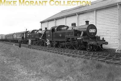 SLS / MLS: Caernarvonshire Rail Tour 5/5/57 LMSR Fowler 4MT 2-6-4T's 42356 & 42366 at Bethesda. The route for this tour was Chester General - Bangor - Bethesda - Caernarvon - Nantle returning via Llanberis - Caernarvon - Llanfair PG - Britannia Bridge - Chester General. [Location defined by Richard Snook]
