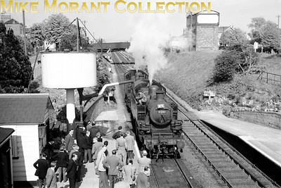RCTS: North Somerset Rail Tour 28/4/57 Ivatt Mickey Mouse 2-6-2T's 41202 and 41203, both Bristol Bath Road engines at the time, put in a lot of work during this tour and here we see them slaking their thirsts at Yatton. [Mike Morant collection]