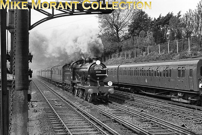 """SLS: London, Chatham & Dover Rail Tour 19/5/57 Maunsell D1 class 4-4-0 no. 31545 was exquisitely turned out for this tour and is depicted here on the outward run from Victoria to Shepherd's Well. The supplied data states that this was taken at Shortlands but I have my doubts about the location and a viewer has contacted me to confirm that together with the suggestion that the location is more akin to Bickley which has been confirmed by David Woodcock: """"Taken from the west end of the (then) up island platform at Bickley. The presence of a stabled 4-SUB (almost certainly a pair) in the downside siding on the right confirms this as this was the only place on this stretch were stock could be (and regularly was) stabled."""""""