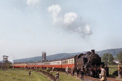 RCTS: North Somerset Rail Tour 28/4/57 Ivatt 'Mickey Mouse' 2MT 2-6-2T 41203 at Wrington on the erstwhile Blagdon branch from Yatton. I was a participant on this splendid day out but, sadly, I don't feature in Trevor's picture. [T. B. Owen / Mike Morant collection]