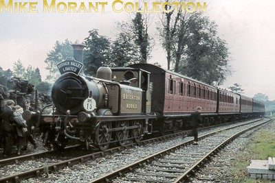 LCGB: The Rother Valley Limited 19/10/58 The Brighton Works shunter, Stroudley A1X 'Terrier' class 0-6-0T no. DS377. at Tenterden Town on the former KESR. [Mike Morant collection]