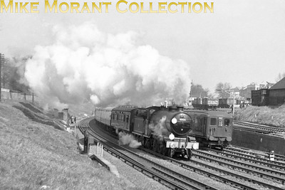 RCTS The Sussex Downsman 13/4/58 April 13th 1958 was a momentous day for British steam enthusiasts as it would be the last time that an atlantic tender engine would grace our metals. The last Marsh H2 4-4-2 No. 32424 Beachy Head is seen here hauling that last rites railtour, the RCTS spondored Sussex Downsman, past New Wandsworth goods depot at 10.30 a.m. on that day. Of interest is 6-PUL  No. 3012 with headcode 16 for Littlehampton which has been diverted from its norma track to the down slow line in order to accomodate the Special.