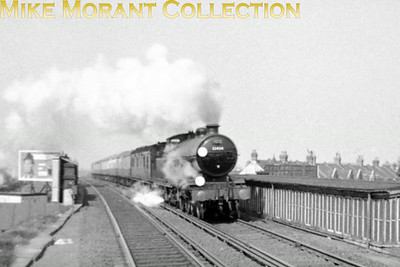 RCTS: Sussex Coast Limited 13/4/58 Former LBSCR Marsh atlantic No. 32424 Beachy Head enters Norbury station with the steep climb from Streatham Common apparent behind her. This tour was the official swansong for Atlantics not just in Britain but everywhere in the world other than Mozambique where they soldiered on until about 1970. Photo taken by Mike Morant