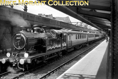 RCTS: Hertfordshire Rail Tour No.2 27/4/58 The always immaculate Liverpool St. Station pilot, ex-GER Hill N7 class 0-6-2T no. 69614, is depicted here at Fenchurch Street station which was the starting point for this tour. The day didn't turn out well for 69614 as it failed and was eventually replaced by classmate 69632 also from Stratford shed. 69614 was withdrawn in December 1960.