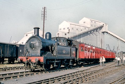 RCTS: London River Rail Tour No.2 3/10/59. Wainwright 'H' class 0-4-4T no. 31193 at Deptford Wharf. 31193 was a Tonbridge based engine throughout the BR era and was withdrawn there in March 1961. [Mike Morant collection]