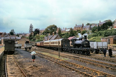 SLS/RCTS: Joint Scottish Tour 17/6/60 Former Caledonian Railway McIntosh 2F 0-6-0 no. 57441 on home territory at Kirriemuir on 16/6/60 during the penultimate day of this six day marathon. [Mike Morant collection]