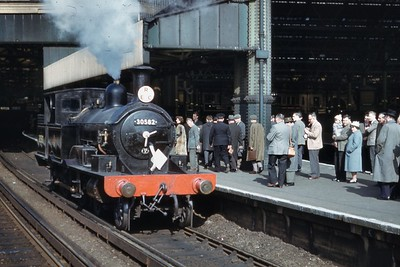 REC: South Western Adams Radial Tank Railtour 19/3/61 LSWR Adams radial 4-4-2T no. 30582 is depicted here at Waterloo station during a rare escape from Devon but this outing would be her swansong. [Mike Morant collection]