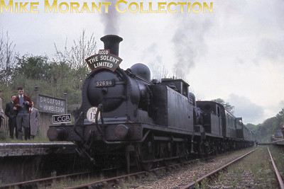 LCGB: Solent Limited 30/4/61 LBSCR Stroudley E1/R class 0-6-2T no. 32694 and LSWR Adams O2 class 0-4-4T no. 30200 have just arrived at Droxford on the remaining stub of the Meon Valley line.