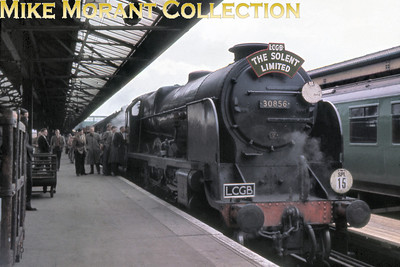LCGB: Solent Limited 30/4/61 Maunsell Lord nelson class 4-6-0 no. 30856 Lord St Vincent at Portsmouth Harbour station having brought the special down from Waterloo and would take no further part in the day's proceedings..