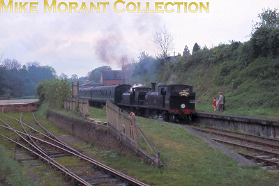 LCGB: Solent Limited 30/4/61 LSWR Adams O2 class 0-4-4T no. 30200 and LBSCR Stroudley E1/R class 0-6-2T no. 32694 are captured on film as they prepare to depart from Droxford, the remnant of the Meon Valley line, for Gosport.