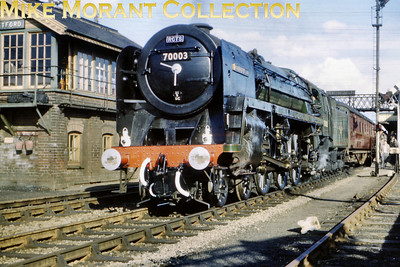 RCTS: Great Eastern Commemorative Steam tour 31/3/62 Sparkling BR Standard 7MT 'Britannia' pcific no. 70003 John Bunyan prepares to depart with the final leg of this tour from Thetford with Liverpool Street as the destination.